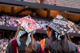 Some students used materials such as paper to create intricate graduation cap designs.